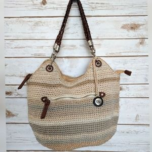The Sak Indio crochet woven satchel Sand Stripe